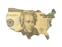 Abstract map with money. USA map with us dollar bill royalty free illustration