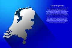 Abstract map of Netherlands with long shadow on blue background  illustration Stock Photos