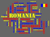 Abstract map of Romania - cdr format. Abstract map of Romania in three colors and flag stock illustration