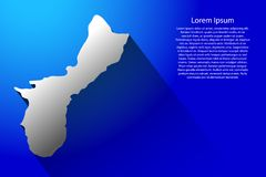 Abstract map Territory of Guam with long shadow on blue background, illustration royalty free illustration