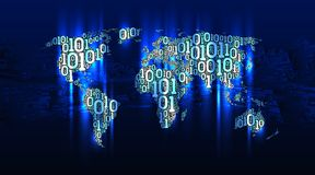 Abstract map world from digital binary code on the background circuit board, internet of things, big data. Abstract map world with continents from digital binary Stock Photo