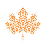 Abstract Maple Leaf Silhouette with Pattern. Vector Stock Photos