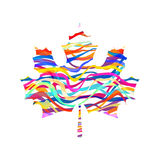 Abstract Maple Leaf Silhouette with Pattern. Vector Royalty Free Stock Images
