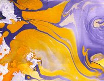 Abstract marble hand painted background in modern art style with fluid free-flowing ink and acrylic painting technique. Stock Photo