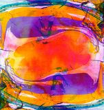 Abstract marble painting background. Bright mixed vibrant colors. Liquid paint. Stock Photography