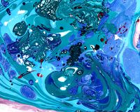 Abstract marbling background - green, violet, blue stock photography