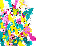 Abstract marbling ebru illustration with colorful splashes on white background Stock Photography