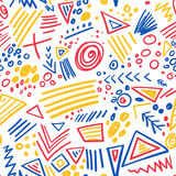 Abstract marker colorful lines seamless pattern Stock Photography