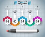 Abstract marker drawing 3d infographics. Origami style marker 3d infographics. vector, eps 10 Stock Photos