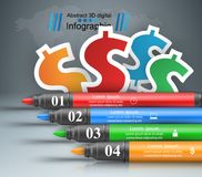 Abstract marker drawing, dollar 3d infographics. Origami style marker, dollar 3d infographics. Vector eps 10 Royalty Free Stock Images