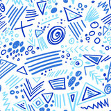 Abstract marker indigo color lines seamless pattern Royalty Free Stock Photography