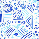 Abstract marker indigo color lines seamless pattern Stock Image