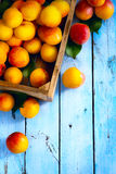 Abstract market background fruits on a wooden background Royalty Free Stock Photo