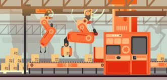 Abstract marketing vector concept with manufacturing assembly production line conveyor belt. Industrial production line process, management and automation stock illustration