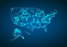 Abstract mash line and point scales on dark background with map of America. Abstract network vector concept of USA. Internet and c. Onnection map background Stock Photo