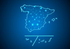 Abstract mash line and point scales on dark background with Map of Spain Provinces. Wire frame 3D mesh polygonal network line, design sphere, dot and structure Stock Image