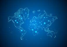 Abstract mash line and point scales on dark background with Map of world. royalty free illustration