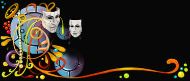 Abstract Masks. On The Black Background Stock Photos