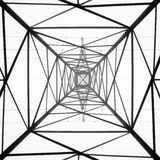 Abstract mast. Power mast in the fog, seen from underneath Royalty Free Stock Photography