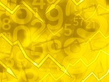 Abstract math yellow arrows background. Illustration royalty free illustration