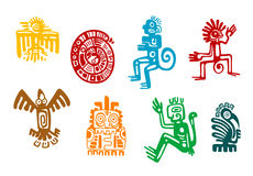 Abstract maya and aztec art symbols. Isolated on white background stock illustration