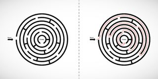 Abstract maze labyrinth icon. Labyrinth shape design element with one entrance and one exit. Vector illustration.  royalty free illustration