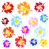 Abstract meadow color flowers -  brash. On white background Royalty Free Stock Photography