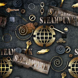 Abstract mechanical elements steampunk background illustration Stock Photos