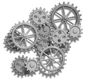 Abstract Mechanical Gears On White. Engineering Co Royalty Free Stock Photos