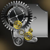 Abstract mechanism with gears. And screws stock illustration