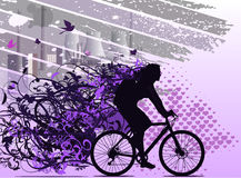 Abstract mechanism. The girl operates bicycle. Bicycle as eco-friendly type of transport. EPS 10 Royalty Free Stock Photos