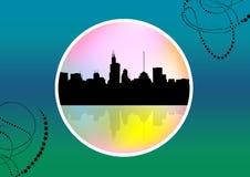 Abstract medallion cityscape Stock Photos