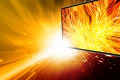 Abstract media background. Illustration of widescreen tv, flame, explosion Stock Image