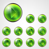 Abstract media buttons. Abstract green media player buttons stock illustration