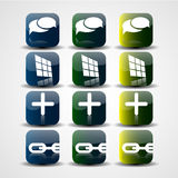 Abstract media buttons. Abstract square colorful media buttons with reflection Stock Image