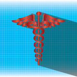 Abstract medical background with caduceus medical symbol. Royalty Free Stock Images
