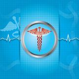 Abstract medical background with caduceus medical symbol. Royalty Free Stock Photo