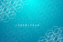 Abstract medical background. DNA research. Hexagonal structure molecule and communication background for medicine. Science, technology. Vector illustration Royalty Free Stock Photo