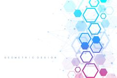Abstract medical background. DNA research. Hexagonal structure molecule and communication background for medicine. Science, technology. Vector illustration Royalty Free Stock Photos