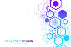 Abstract medical background. DNA research. Hexagonal structure molecule and communication background for medicine. Science, technology. Vector illustration Stock Illustration