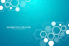 Abstract medical background. Science and connection vector concept. Hexagonal geometric array with dynamic moving. Particles. DNA, atom, helix, neurons, spiral stock illustration