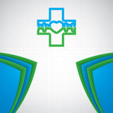 Abstract medical blue green pharmacy sign Stock Photos