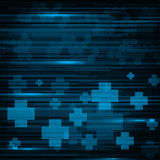 Abstract medical blue stripes and crosses background Royalty Free Stock Images