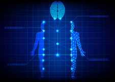 Abstract medical body and brain technology. illustration design. Royalty Free Stock Photos