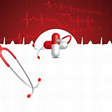 Abstract medical cardiology ekg background Stock Images