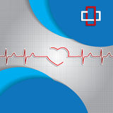 Abstract medical heartbeat sign blue background Royalty Free Stock Photo