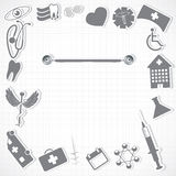Abstract medical icons background. White silver grid Royalty Free Stock Images