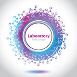 Abstract medical laboratory emblem - circle element. Violet and blue background Royalty Free Stock Photo