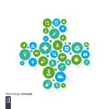 Abstract medicine background with cross, circles and flat icons. Royalty Free Stock Photography