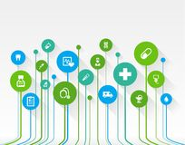 Abstract medicine background with lines, circles and flat icons. Stock Photography